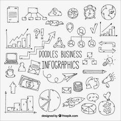 Confezione di scarabocchi per un business infografica Vettore gratuito