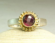 Rhodolite Garnet Ring Sterling Silver by TazziesCustomJewelry