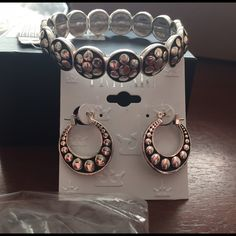 Matching set  bracelet and earrings Stretchy bracelet w/ matching silver earrings Jewelry