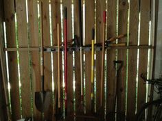 Hang shovels and rakes on the wall using a strip garden tool organizer. - All About Gardens Old Garden Tools, Garden Tool Shed, Garden Ideas, Garden Tool Organization, Garden Tool Storage, Corner Garden, Tool Sheds, Declutter Your Home, Planting Seeds