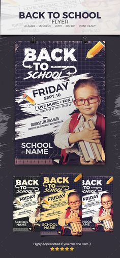 Back To #School #Flyer - Events Flyers Download here: https://graphicriver.net/item/back-to-school-flyer/20447114?ref=alena994
