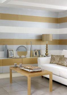 Ausgefallene Wandgestaltung In Gold U0026 Silber * Wände In Streifen Streichen  * Farbqualitaet.de