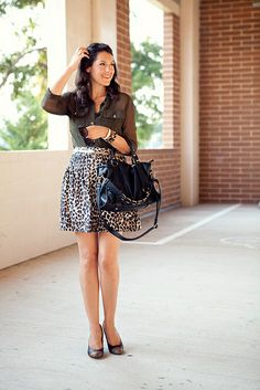 Kendi Everyday. I love this whole look, but especially the leopard skirt.