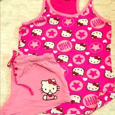 Hello Kitty pajamas Hello Kitty pajamas. Pajamas are shorts and a racerback tank. Has hello kitty on shorts and top. Size is large but fits more like a medium. Hello Kitty Intimates & Sleepwear Pajamas
