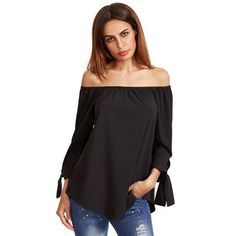 Black Brief Blouse Women Long Sleeve Bow Tie Cuff Off Shoulder Tops New Fashion Spring Casual Sexy Loose Blouses