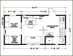 12x24 floor plan bedroom on ground floor cabin floor planstiny house - Tiny House Layout Ideas