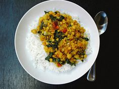 Curry Red Lentil Stew with Kale & Chickpeas