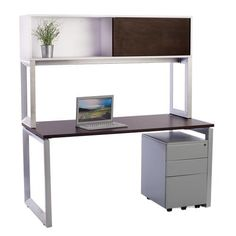 Great basic desk with modern, flat silver legs and mobile file pedestal and rich brown wood grain top. Includes overhead storage bin that allows for a lot of st