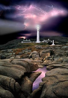 Point Hicks Lighthouse ~ thunderstorm, Croajingalong NP, Victoria, Australia by Ern Mainka~~
