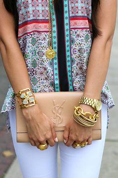 Clover Canyon shirt // Rich & Skinny jeans  // Michael Kors heels YSL clutch // Celine sunglasses // Julie Vos jewelry