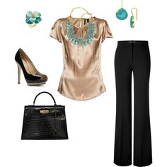 Business Attire / Work Clothes / dressy outfit I almost have this outfit, my blouse is sleevless