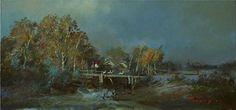 bridge by Bogdan Goloyad oil on canvas 16x34 by BogdanGoloyadArt