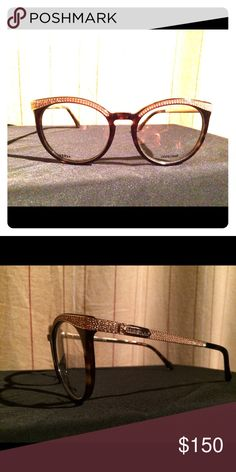 7358a2e769960 Designer eyeglasses Dark brown with gold eyewear lined with crystals caviar  Accessories Glasses