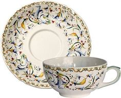 Gien Toscana Breakfast Cup and Saucer-Set of 2