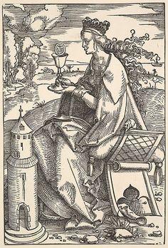 1505 - 1507 Hans Baldung Grien, Saint Barbara with chalice and tower (Heilige Barbara met miskelk en toren) Thé Illustration, Illustrations, Hans Baldung Grien, Saint Barbara, Fine Art Prints, Framed Prints, Photo Mug, Canvas Art, Canvas Prints