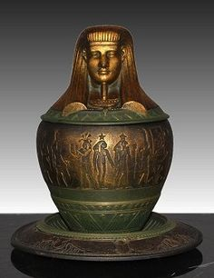 Egyptian Revival Art Deco canopic jar, French, 1920's, 17cm high