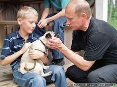 Vladimir Putin loves children and animals.