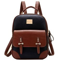 Tinksky New Arrival Korean Fashion Bag Vintage Backpack College... (345 MAD) ❤ liked on Polyvore featuring bags, backpacks, vintage bag, vintage backpack, brown backpack, rucksack bag e knapsack bags