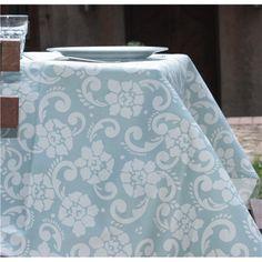Manteles resinados a medida. Versalles agua. Hecho en España