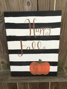Happy Fall with Pumpkin Canvas by SouthernClothCo on Etsy