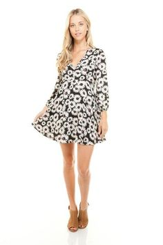 504e291b2ecb Women's V-Neck Long Sleeve Floral Print Dress Black Cream, Summer Time,  Dress