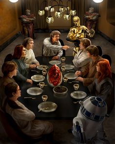 Solo Skywalker family dinner... by ~chrisscalf on deviantART    Correct me if I'm wrong, but...from lower left and going clockwise: Zekk, Ben Skywalker, Jaina Solo, Leia Solo, Han Solo, C-3PO, Luke Skywalker, Jacen Solo, Mara Jade-Skywalker, R2D2, with Nighori body guards in the background. Looks like the argument over dinner scene from Betrayal.