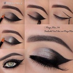 Attractive Silvery Grey Smoky Eye Makeup