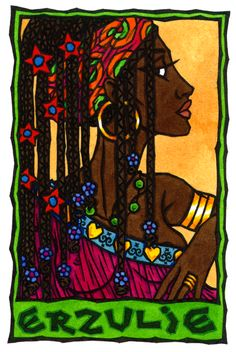 Erzulie, Vodou Lwa of Love and Beauty/Love is faith.Offerings to Erzulie are all the sweet things She loves--perfume, sweet food, and desserts such as bananas fried in sugar.