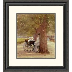 Global Gallery 'A Rest in the Row' by Rose Maynard Bartom Framed Painting Print Size: