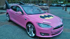Google founder's Tesla given a pink Bat-makeover for April  Fool's.