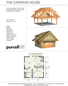Purcell Timber Frames - The Carriage House - 624 square feet of living space above the garage Build Your Own Garage, Build A Dog House, Octagon Picnic Table, Bungalow, Building Extension, Garage Extension, Zen, Garage Apartments, Above Garage Apartment