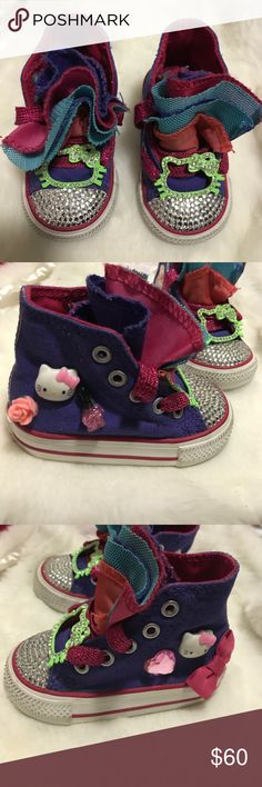 Custom Hello Kitty Converse Sneakers I custom made for my daughter. One of my best projects. A lot of hard work! Size 3 but I think the sneaker runs small. Converse Shoes Sneakers