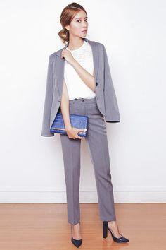 Tricia Gosingtian - Sm Woman Blazer, Sm Woman Slacks, Sm Woman Top, Sm Parisian Heels, The Sm Store Bag, Sm Accessories Earrings - 042315