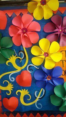 Spring Flower Bulletin Board Spring Pinterest Spring Bulletin