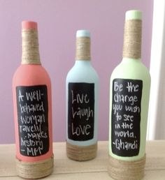 recycle wine bottles diys   DIY tiny chalk boards on recycled wine bottles for your ...   Winetas ...