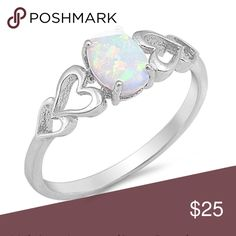 Sterling silver 925 australian white opal Sterling silver 925 australian white opal with 2 heart on both side 2mm band ring promise ring engagement ring lab created white opal white gold Jewelry Rings