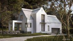 QUELQUES MAISONS MÉTISSES… – Adornetto Scandinavian Architecture, Farmhouse Architecture, Modern Architecture, Cottage Exterior, Modern Farmhouse Exterior, Farmhouse Style, Small Modern Home, Modern Barn, Home Building Design
