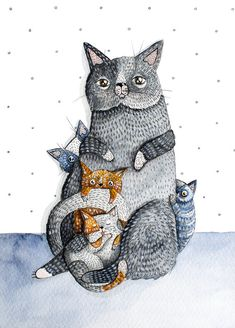Cat kittens pet portrait Art PRINT Watercolor by NORAillustration