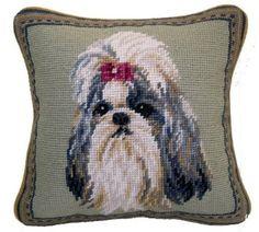 "Shih Tzu Dog Needlepoint Pillow 10/""x10/"" NWT"
