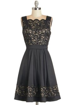 Novel Release Party Dress. Tonights all about you - step to the stage in this sleeveless lace dress and woo your admirers with your words! #gold #prom #modcloth