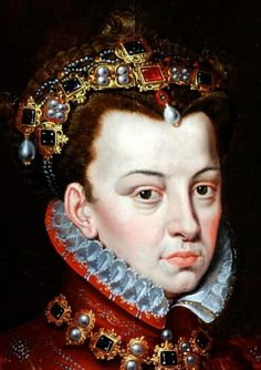 Detail of a portrait of Elisabeth de Valois by Sir Anthony Moore (1516 - 1576) after original by Sanchez Coello (1531-1538).