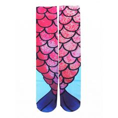 Choies Multicolor Mermaid Print Knee High Socks ($12) ❤ liked on Polyvore featuring intimates, hosiery, socks, multi, knee high socks, patterned hosiery, multicolor socks, knee hi socks and knee socks