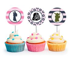 INSTANT DOWNLOAD Modern Girls Star Wars Cupcake Toppers (Star Wars party, Princess Leia, Girls Party, Star Wars, Printable Cupcake Toppers) by LibbyLanePress on Etsy https://www.etsy.com/listing/227495458/instant-download-modern-girls-star-wars