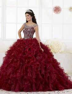 ac5cc7bc3cd Style 26897 from House of Wu is an organza ruffled Quinceanera ball gown.  The sleeveless. French Novelty