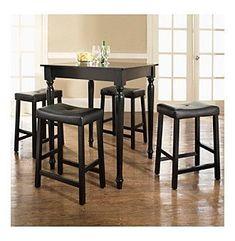 Crosley® Furniture 5-pc. Pub Dining Set with Turned Leg & Upholstered Saddle Stools - Black