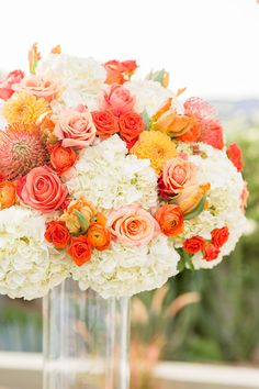 Modern Arizona Desert Wedding with Orange, Blue and Gray