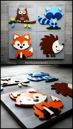 Additional painting of small wood cutouts