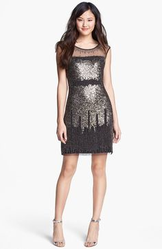 Adrianna Papell Illusion Yoke Beaded Sheath Dress | Nordstrom