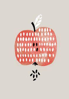 Nanna Prieler, printmaking, apple, pips, seeds, colour, fruit, drawing, food illustration, print, lino, greeting card