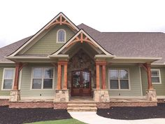 Top-Of-The-Line Craftsman House Plan Architectural Designs Rugged House Plan Over sq ft plus an optional finished lower level. Where do YOU want to build? House Paint Exterior, Exterior Design, House Colors Exterior Green, House Siding Colors, Green Exterior Paints, Exterior House Colors Combinations, Style At Home, Green Siding, Haus Am See